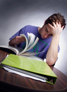 "RENO, NV - Photo illustration of a college student stressing over his workload. In an online poll, 48% of students said they took Adderall, Vyvanse, Ritalin, etc for ""studying."" (see sidebar, responses: http://goo.gl/kJc52i). CREDIT: Nate Eng"